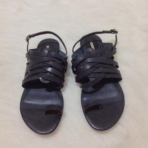 Max Studio Leather Navy Blue Sandals Slide Size 9